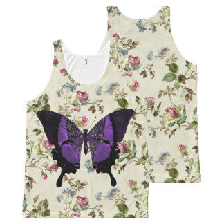 紫色の蝶-花の背景 オールオーバープリントタンクトップ