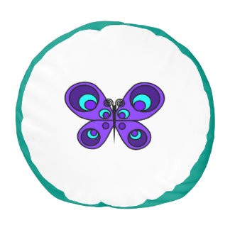 紫色の蝶Poufの枕 プーフ