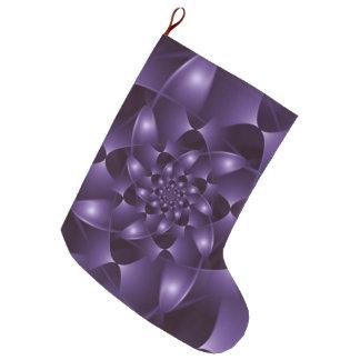 紫色の螺線形のフラクタルのクリスマスのストッキング ラージクリスマスストッキング
