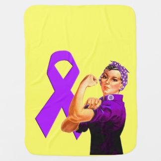 紫色の認識度のリボンRosieリベッター ベビー ブランケット