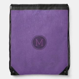 紫色の調子の模造のな革質のプリント ナップサック
