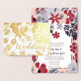 紫色の赤いピンクの金ゴールドホイルの結婚式招待状 箔カード