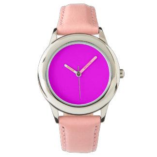 紫色の赤紫のステンレス鋼のピンク 腕時計