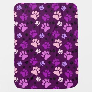 紫色の足のプリント犬の木枠毛布 ベビー ブランケット