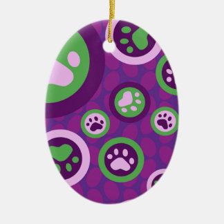 紫色の足の愛犬家のプリント セラミックオーナメント