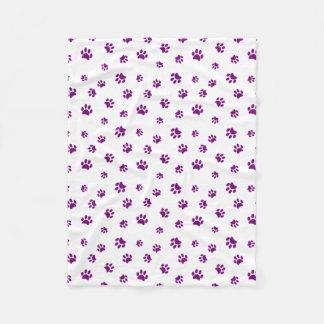 紫色の足はパターンを印刷します フリースブランケット