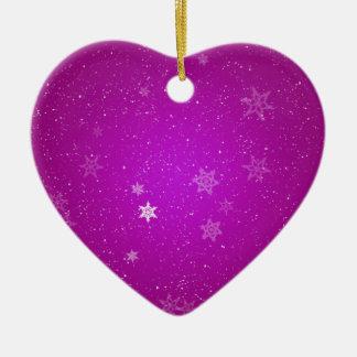 紫色の輝きの雪片 セラミックオーナメント