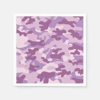 紫色の迷彩柄のデザイン スタンダードカクテルナプキン