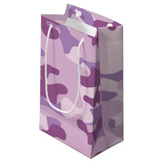 紫色の迷彩柄のデザイン スモールペーパーバッグ