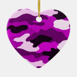 紫色の迷彩柄 セラミックオーナメント
