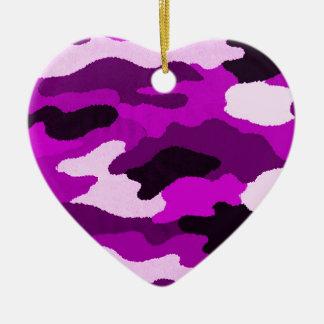 紫色の迷彩柄 陶器製ハート型オーナメント