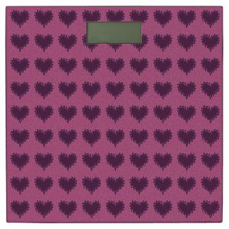 紫色の重量のスケールの巻き毛のハートの紫色 体重計