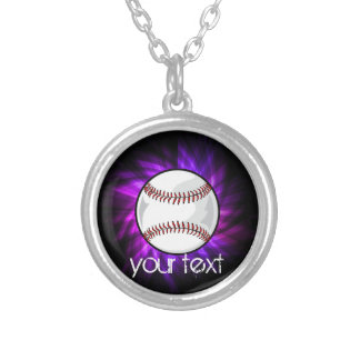 紫色の野球; ソフトボール シルバープレートネックレス