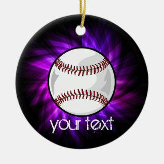 紫色の野球; ソフトボール 陶器製丸型オーナメント