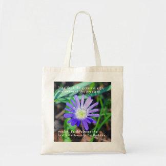 紫色の野生の花の勇気付けられるのテーマのトートバック トートバッグ
