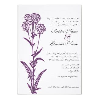 紫色の野生花の枝結婚式招待状 カード