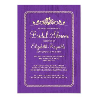紫色の金ゴールドのヴィンテージの納屋の木製のブライダルシャワーの招待 カード