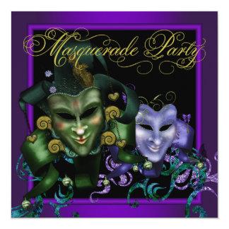 紫色の金ゴールドの仮面舞踏会のパーティの招待状 13.3 スクエアインビテーションカード