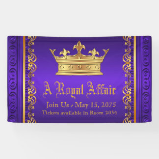 紫色の金ゴールドの王室のな王冠 横断幕