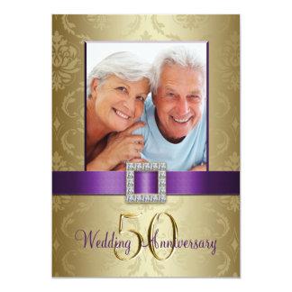紫色の金ゴールド第50の結婚記念日の招待状 12.7 X 17.8 インビテーションカード