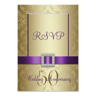 紫色の金ゴールド第50の結婚記念日RSVPカード 8.9 X 12.7 インビテーションカード