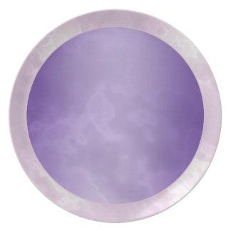 紫色の銀によって大理石模様をつけられるメラミンプレート 皿