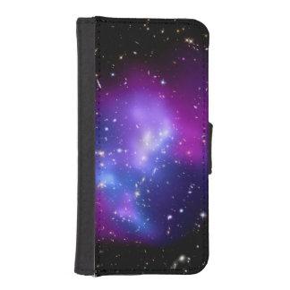 紫色の銀河系の集りのレインコートJ0717の宇宙 iPhoneSE/5/5sウォレットケース