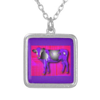 紫色の銀製のネックレス、赤いピンク、牛デザイン シルバープレートネックレス