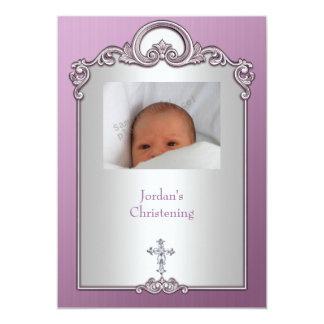 紫色の銀製の写真フレームの宝石の十字の《キリスト教》洗礼式や命名式 12.7 X 17.8 インビテーションカード