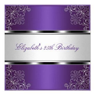 紫色の銀製の花柄の第25誕生会のイベント カード