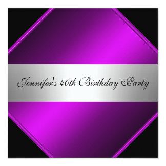 紫色の銀製の誕生日のパーティの招待状 カード