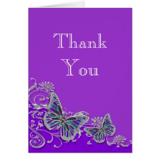 紫色の銀製の青い蝶結婚式 ノートカード