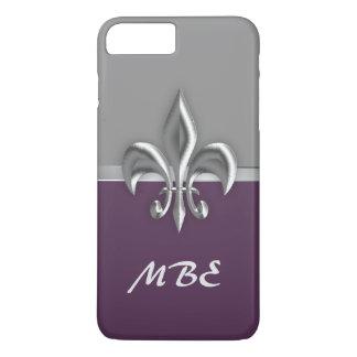 紫色の銀製の(紋章の)フラ・ダ・リのiPhone 7のプラスの場合 iPhone 8 Plus/7 Plusケース