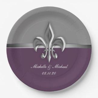 紫色の銀製の(紋章の)フラ・ダ・リ ペーパープレート