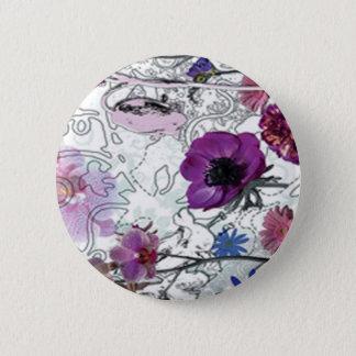 紫色の開花の花柄ボタン 5.7CM 丸型バッジ