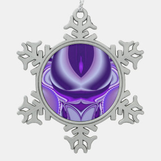 紫色の雪花の夢 スノーフレークピューターオーナメント