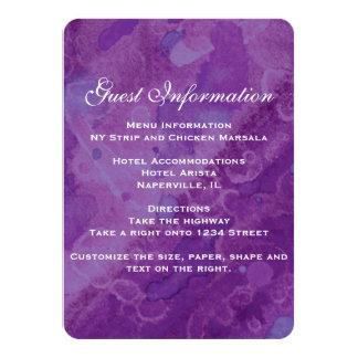 紫色の霧雨の結婚式の挿入物 カード