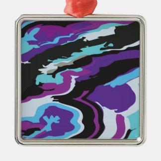紫色の青いカムフラージュ メタルオーナメント