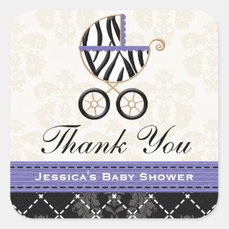 紫色の青いシマウマの乳母車は感謝していしています スクエアシール