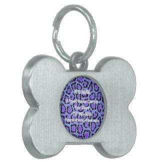 紫色の青いチータの円の抽象芸術 ペットネームタグ