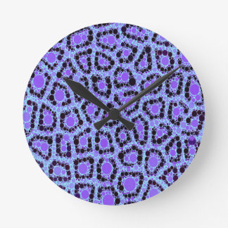 紫色の青いチータの円の抽象芸術 ラウンド壁時計