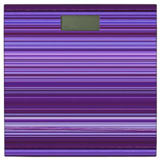 紫色の青いピンクのストライプパターン 体重計