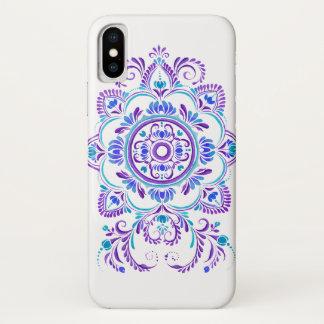 紫色の青い民俗花のデザインの電話箱 iPhone X ケース