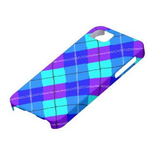 紫色の青い水のタータンチェック iPhone SE/5/5s ケース