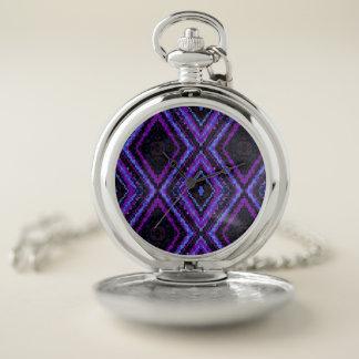 紫色の青および黒いピクセルダイヤモンド ポケットウォッチ
