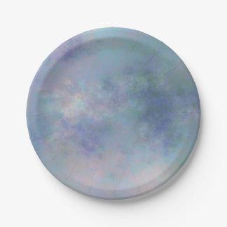 紫色の青く霧深い水彩画の背景 ペーパープレート