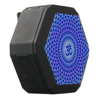 紫色の青のはすの花の黙想の車輪OM ブラックBluetoothスピーカー