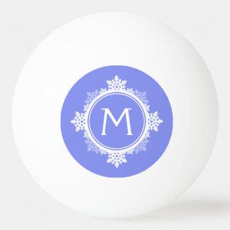 紫色の青の雪片のリースのモノグラム及び白い 卓球ボール