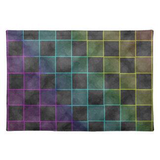 紫色の青及び緑のグランジな正方形 ランチョンマット