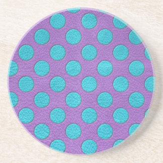 紫色の革プリントのターコイズの水玉模様 コースター